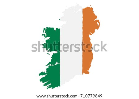 map of ireland with flag hand