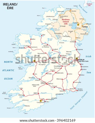 Rail Map Of Ireland.Map Of Ireland With The Rail Route Network Ez Canvas