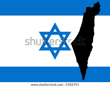 map of Israel and Israeli flag illustration