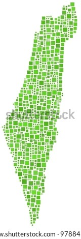 Map of Israel in a mosaic of green squares. A number of 721 little squares are accurately inserted into the mosaic. White background. - stock vector