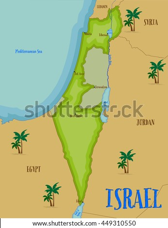 map of israel in cartoon style