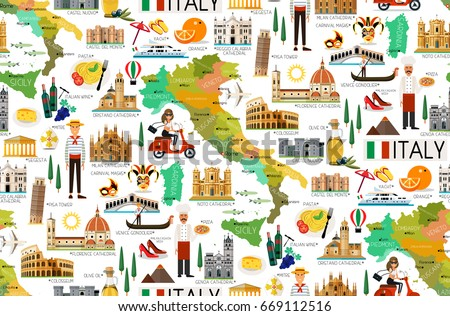 map of italy and travel icons