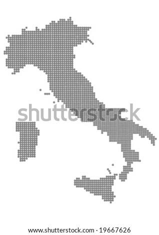 map of italy grey balls vector illustration