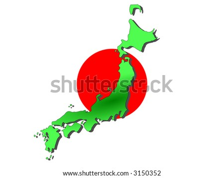 map of Japan and Japanese flag illustration