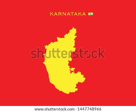 MAP OF KARNATAKA (States of India, Federated states, Republic of India) map vector illustration, scribble sketch Karnataka state map