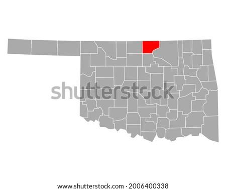 Map of Kay in Oklahoma on white Stok fotoğraf ©