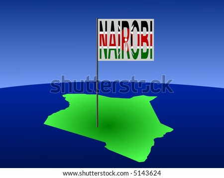 map of Kenya with position of Nairobi marked by flag pole illustration