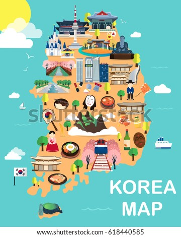 map of korea attractions vector