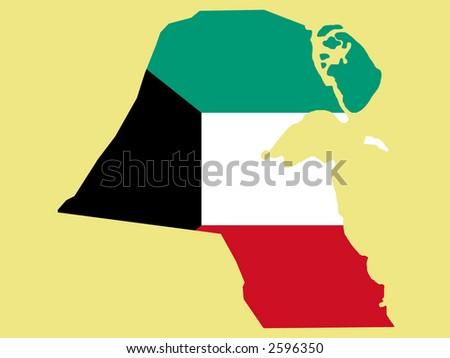 kuwait flag coloring page - map of kuwait and kuwaiti flag illustration 2596350