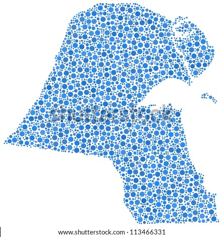 Map of Kuwait in a mosaic of blue circles. A number of 2784 bubbles are inserted into the mosaic