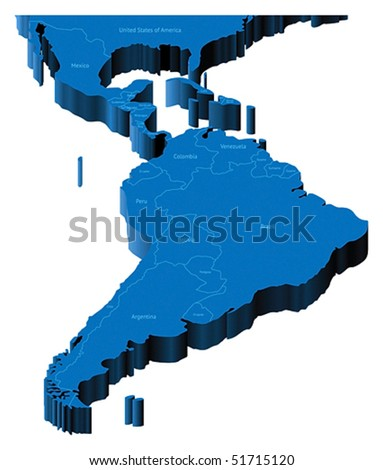 Map of Latin America with national borders and country names. Pseudo-3d vector illustration.
