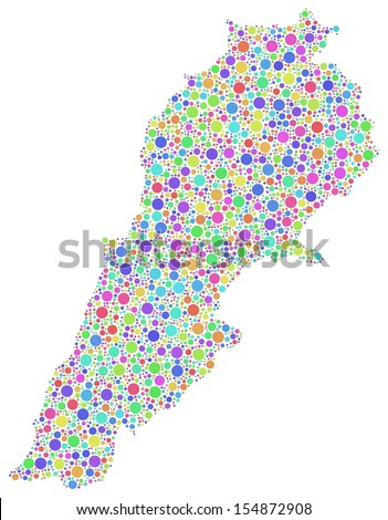 Map of Lebanon - Middle East - in a mosaic of colored little bubbles. A number of 3059 little circles are accurately inserted into the mosaic. White background.