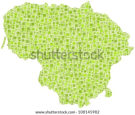 Map of Lithuania - Europe - in a mosaic of green square