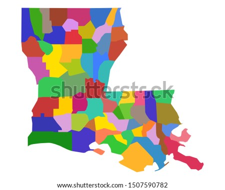 Map of Louisiana as vector illustration