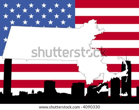 map of Massachusetts on American flag with Boston skyline