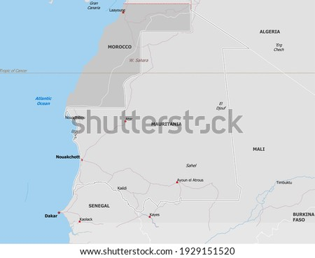 Map of Mauritania. Map is drawn in high detail and for clarity shows only major cities. Country is drawn with neighboring countries. Zdjęcia stock ©