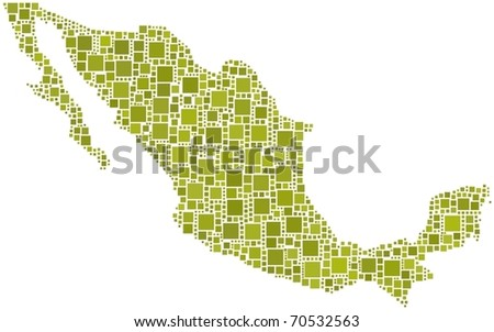 Map of Mexico. A number of 1137 squares are inserted into the mosaic - stock vector