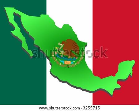 mexico flag. Mexican flag illustration