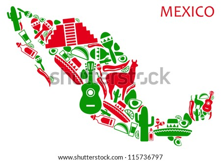 Map of Mexico from national symbols