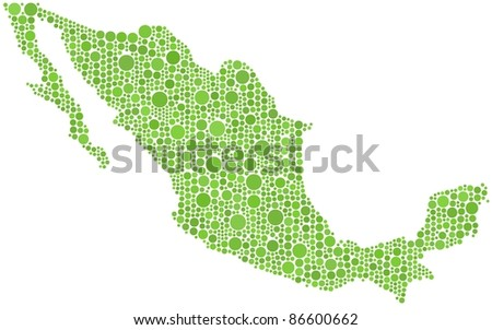 Map of Mexico in a mosaic of  1402 circles
