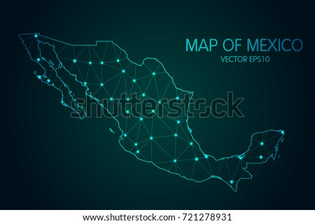 Map of Mexico - With glowing point and lines scales on the dark gradient background, 3D mesh polygonal network connections.vector illustration Eps 10.