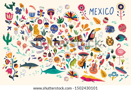 Map of Mexico with traditional symbols and decorative elements. Mexican decorative vector pattern. Map of Mexico with traditional symbols and decorative elements.