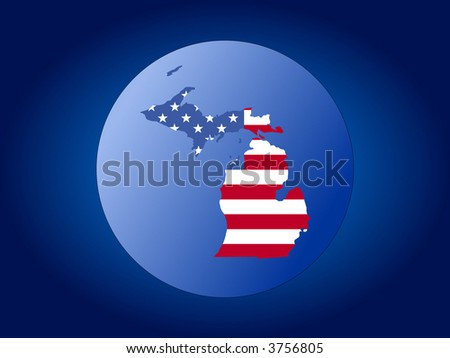 map of Michigan and American flag globe illustration - stock vector