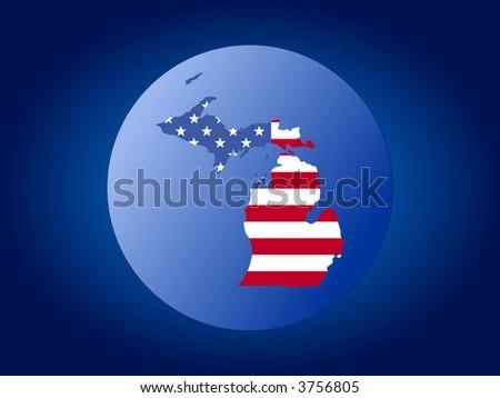 map of Michigan and American flag globe illustration