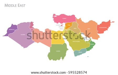Map of Middle East. Vector Stockfoto ©