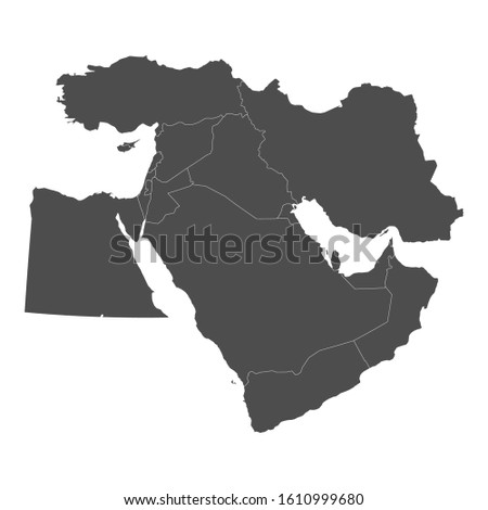 Map of Middle East with borders of countries Stockfoto ©