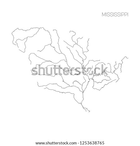 Map of Mississippi river drainage basin. Simple thin outline vector illustration.