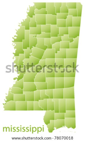 map of mississippi state, usa