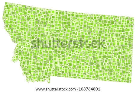 Map of Montana (USA) in a mosaic of green squares