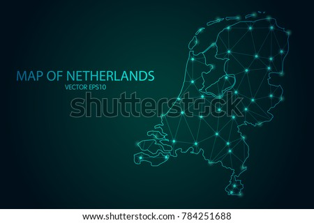 Map of Netherlands - With glowing point and lines scales on The dark gradient background, 3D mesh polygonal network connections. Vector illustration Eps10.