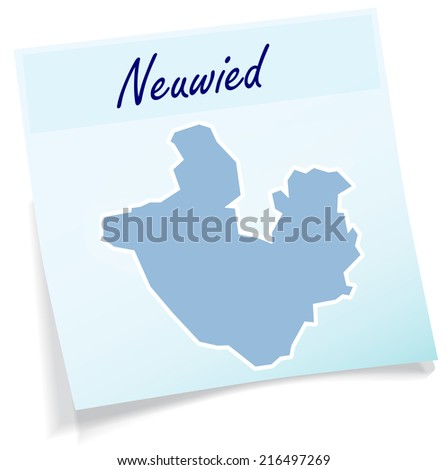 map of neuwied as sticky note