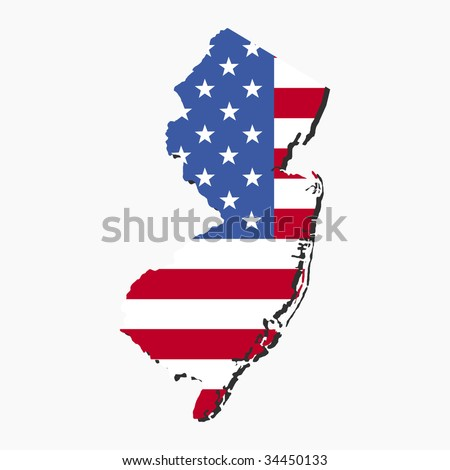 Map of New Jersey with American flag illustration