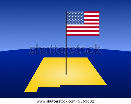 Map of New Mexico with American flag on pole illustration