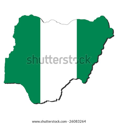 map of Nigeria and Nigerian flag illustration