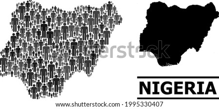Map of Nigeria for demographics posters. Vector nation abstraction. Concept map of Nigeria designed of crowd icons. Demographic concept in dark grey color tinges. Stockfoto ©