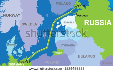 map of Nord stream 2 vector illustration Photo stock ©