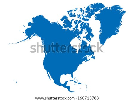 map of north america- blue on white background