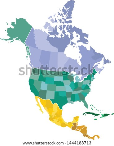 Map of North America with countries and states