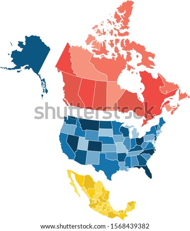 Map of North America with separate countries