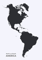 map of north and south america. isolated vector black silhouette image of western world, continent of america