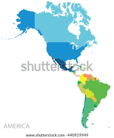 Shutterstock Map of north and south Americas