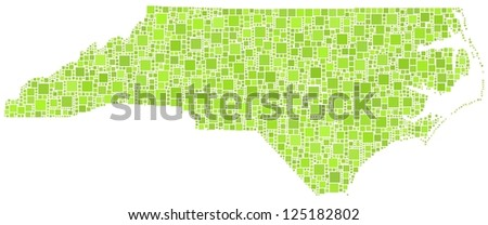 Map of North Carolina - Usa - in a mosaic of green squares. White background.