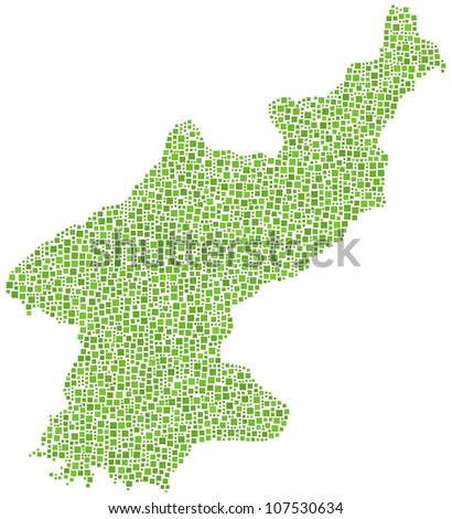 Map of North Korea in a mosaic of green squares. A number of 2687 little squares are accurately inserted into the mosaic. White background.