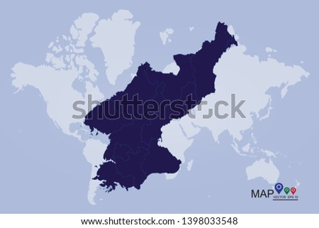 Map of North Korea, Vector map-North Korea country, High Detailed Blue Map of North Korea isolated on white background. Vector illustration eps 10. - Vector