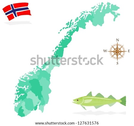 map of norway  regions and
