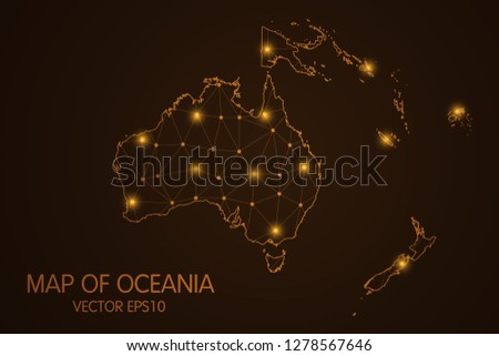 Map of Oceania - Abstract mesh line and point scales on dark background. 3D mesh polygonal network connections.Vector illustration eps 10.